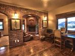 Wild West Suite's fireplace office area