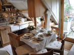 dining area, handmade oak kitchen and terrace area with great views