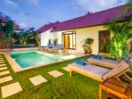 TWO 8x3.5m Pools&2x1.5m Kids Section. 4 Double Sunloungers and 2 Singles Loungers. Relax in Style.
