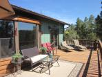 Spacious 700 Sq Ft elevated deck with mountain and forest views...