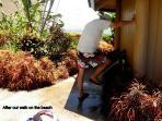 Foot wash outside pool house.