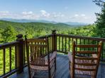 Deck off the master bedroom with mountain top views