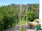 Lateral de la casa, campo y huerto.