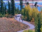 Biking a mile away, along Lake Dillon