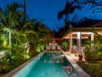 Villa pool view at night