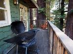 Monte Rio Treehouse, BBQ on lower deck.