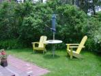 Chairs and table just steps from the front door - 93 Neel Road Harwich Port Cape Cod New England Vacation Rentals