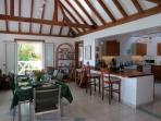 Shell Villa's spacious dining area, breakfast bar and kitchen