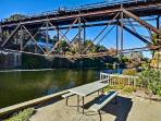 Views of train trestle from riverside picnic area