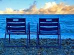 Chaise bleue sur la Promenade des Anglais