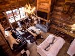 Overhead view of Chalet Alouette's living room