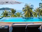 Huge swimming pool 17 meter long with a amazing view of Chaloklum bay.
