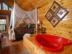Naughty by Nature a romantic one bedroom cabin with heart shaped Jacuzzi.