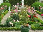 Our garden, 'à la francaise', rose garden, topiaries,plus, a full organic vegetable one with hens.
