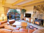 Timber Ridge #27 Living Area With A Wood Burning Fireplace And A Queen Aerobed