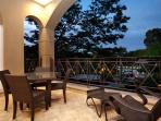 Large balcony area at night