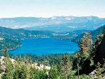 Donner Lake from Donner Summit in Tahoe National Forest. The cabin is on the upper left of the lake.