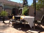 Outside dining table and chairs.
