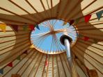 The Secret Yurts window to the stars and sun!