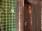 very spacious shower build into the bathroom with floor heating