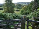 Nearby footpath down to the River Wey