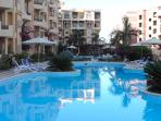 The garden and pools at El Andalous. Sunny until late afternoon, then welcoming shade!