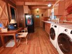 Ultra Quiet Washer and Dryer, desk with high speed internet, efficient full kitchen