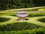 Box Hedge parterre at front of the house.
