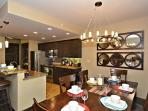 Open kitchen and dining area with modern finishes
