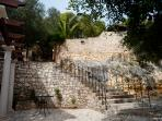 one of the sweeping stairways connecting different areas of the garden