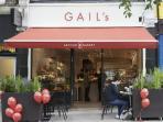 Cafes/restaurants - 5-7 minute walk away