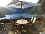 Panoramic views of the Geiranger fjord from the 1st floor veranda.