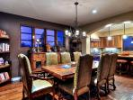 Dining for 8 and an additional seating for 3 at nearby kitchen island