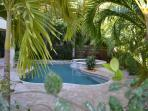 Fully landscaped rear yard - tropical planting & auto lighting at night