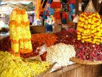 Margao Market - Fresh flowers on sale