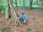 Making dens and camps in the woods has got to be one of the favorite things to do.
