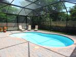 Private Pool Area with Fence and Pool Cage to Keep Out the Bugs and Pests