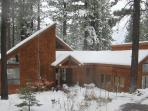 Front view of house in winter.