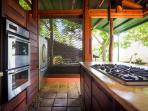 Gas range, double oven and what's that?  Sliding walls to maximize the view!