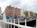 View from Hapenny Bridge, the apartment is the second floor above the green Book Value