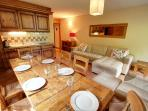 Big dining table with seats for 6 people