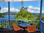 Bistro table with hurricane hole and BVI view