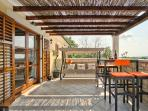 Upper 40 sqm terrace for sunset watch. Bird watching also recommended