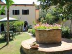 giardino con pratino, aiuole, alberi, tavolini, sdraie