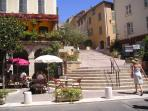 View up the Grand Rue du Chateau in Fayence