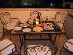 Spacious balcony for evening dining
