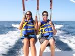 Parasailing is a favorite and the ride takes you along the beach front.