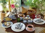 Our gourmet breakfast, served most of the time on the terrace