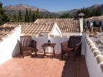 Private roof terrace has 360 stunning views of the mountains and country side, complete with sunbeds