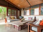 The media room- sliding wall blur the lines between indoors and out